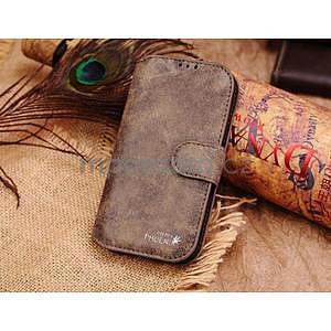 Peněženkové pouzdro z pravé kůže na Samsung Galaxy S4 - hnědá I - 1