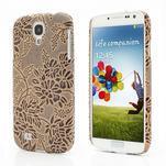 Kvetinové puzdro pre Samsung Galaxy S4 - hnedé - 1/3