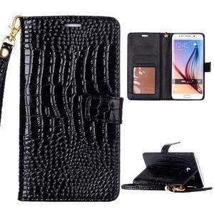 Croco styl peňaženkové puzdro pre Samsung Galaxy S7 - čierne - 1
