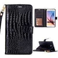 Croco styl peňaženkové puzdro pre Samsung Galaxy S7 - čierne - 1/6