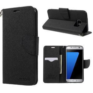 Mercury Orig PU kožené puzdro pre Samsung Galaxy S7 - čierne - 1