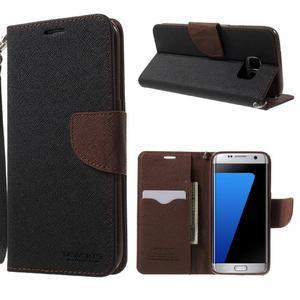 Mercury Orig PU kožené puzdro pre Samsung Galaxy S7 - čierne/hnedé - 1