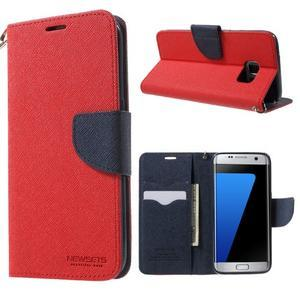 Mercury Orig PU kožené puzdro pre Samsung Galaxy S7 - červené - 1