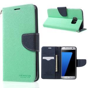 Mercury Orig PU kožené pouzdro na Samsung Galaxy S7 - azurové - 1