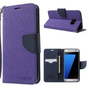 Mercury Orig PU kožené pouzdro na Samsung Galaxy S7 - fialové - 1