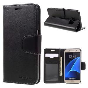 Rich PU kožené peněženkové pouzdro na Samsung Galaxy S7 - černé - 1