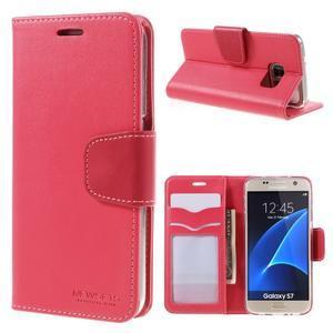 Rich PU kožené peňaženkové puzdro pre Samsung Galaxy S7 - rose - 1