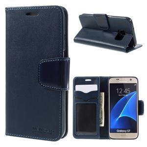 Rich PU kožené peněženkové pouzdro na Samsung Galaxy S7 - tmavěmodré - 1