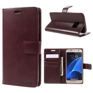 Moon PU kožené puzdro pre mobil Samsung Galaxy S7 - tmavočervené - 1