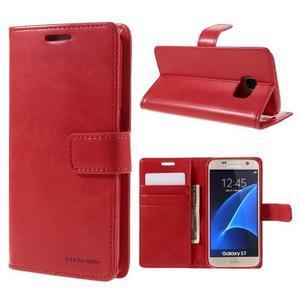 Moon PU kožené puzdro pre mobil Samsung Galaxy S7 - červené - 1