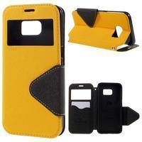 Diary puzdro s okienkom pre Samsung Galaxy S7 - žlté - 1/7