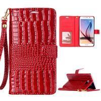 Croco styl peněženkové pouzdro na Samsung Galaxy S7 - červené - 1/6