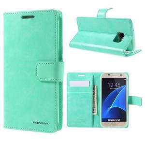 Moon PU kožené puzdro pre mobil Samsung Galaxy S7 - azurové - 1