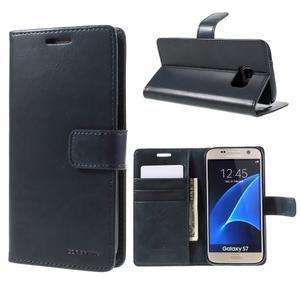Moon PU kožené puzdro pre mobil Samsung Galaxy S7 - tmavomodré - 1
