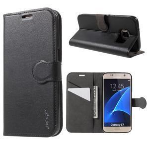 Leat PU kožený obal pre Samsung Galaxy S7 - čierný - 1
