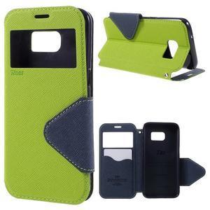 Diary pouzdro s okýnkem na Samsung Galaxy S7 - zelené - 1