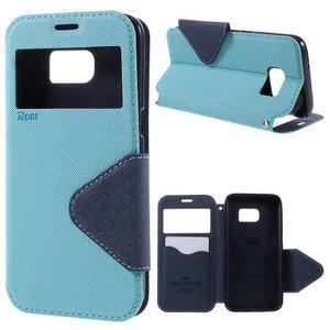 Diary puzdro s okienkom pre Samsung Galaxy S7 - svetlomodré - 1