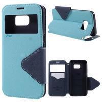 Diary puzdro s okienkom pre Samsung Galaxy S7 - svetlomodré - 1/7