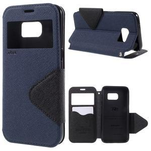 Diary puzdro s okienkom pre Samsung Galaxy S7 - tmavomodré - 1