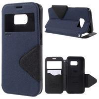 Diary puzdro s okienkom pre Samsung Galaxy S7 - tmavomodré - 1/7