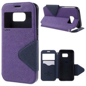 Diary pouzdro s okýnkem na Samsung Galaxy S7 - fialové - 1