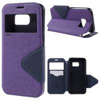 Diary pouzdro s okýnkem na Samsung Galaxy S7 - fialové - 1/7