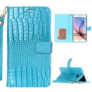 Croco styl peňaženkové puzdro pre Samsung Galaxy S7 - modré - 1