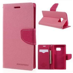 Goosper PU kožené puzdro pre Samsung Galaxy S7 - ružové - 1