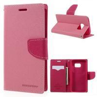 Goosper PU kožené pouzdro na Samsung Galaxy S7 - růžové - 1/7