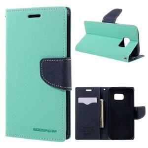 Goosper PU kožené puzdro pre Samsung Galaxy S7 - cyan - 1