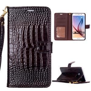 Croco styl peňaženkové puzdro pre Samsung Galaxy S7 - hnedé - 1