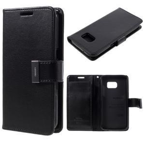 Luxury PU kožené pouzdro na Samsung Galaxy S7 - černé - 1