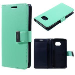 Luxury PU kožené puzdro pre Samsung Galaxy S7 - azurové - 1