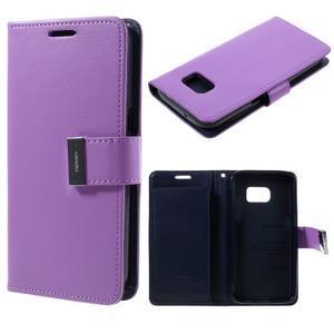 Luxury PU kožené puzdro pre Samsung Galaxy S7 - fialové - 1