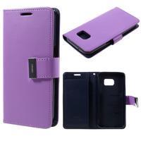 Luxury PU kožené puzdro pre Samsung Galaxy S7 - fialové - 1/7
