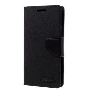 Canvas PU kožené/textilní puzdro pre Samsung Galaxy S7 - čierne - 1