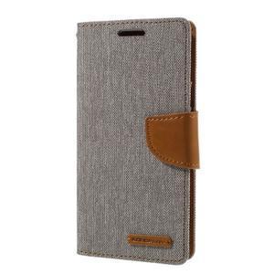 Canvas PU kožené/textilní puzdro pre Samsung Galaxy S7 - šedé - 1