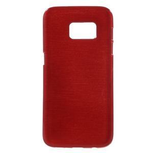 Brush gélový obal pre mobil Samsung Galaxy S7 - červený - 1
