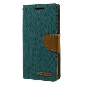 Canvas PU kožené/textilní puzdro pre Samsung Galaxy S7 - zelené - 1
