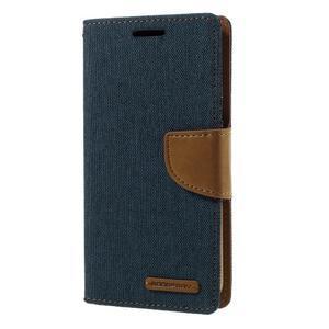Canvas PU kožené/textilní puzdro pre Samsung Galaxy S7 - modré - 1