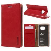 Bluemoon PU kožené puzdro pre mobil Samsung Galaxy S7 - červené - 1/7