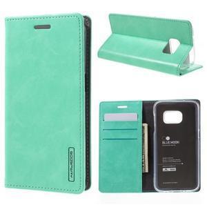 Bluemoon PU kožené pouzdro na mobil Samsung Galaxy S7 - cyan - 1