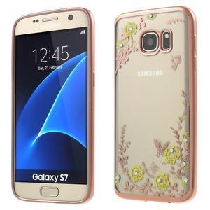 Nice gélový obal s kamínky pre Samsung Galaxy S7 - žlté kvetiny - 1