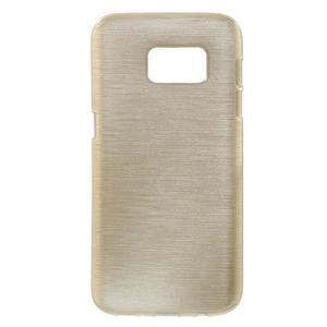 Brush gélový obal pre mobil Samsung Galaxy S7 - zlatý - 1