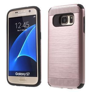 Dvoudílný odolný kryt na Samsung Galaxy S7 - zlatorůžový - 1