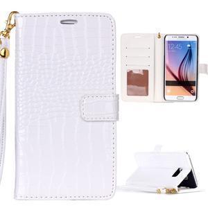 Croco styl peněženkové pouzdro na Samsung Galaxy S7 - bílé - 1