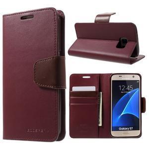 Sonata PU kožené pouzdro na Samsung Galaxy S7 - vínové - 1