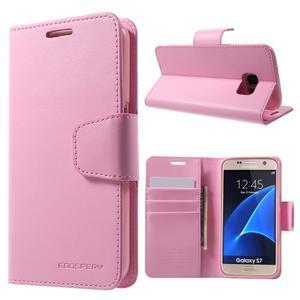 Sonata PU kožené pouzdro na Samsung Galaxy S7 - růžové - 1