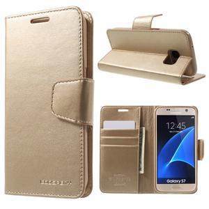 Sonata PU kožené pouzdro na Samsung Galaxy S7 - zlaté - 1