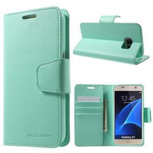 Sonata PU kožené pouzdro na Samsung Galaxy S7 - azurové - 1